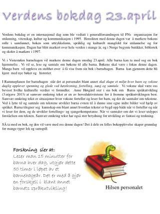 Verdens  bokdag  23.april