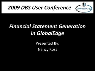 Financial Statement Generation in GlobalEdge