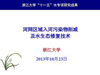 """浙江大学""""十一五""""水专项研究成果"""