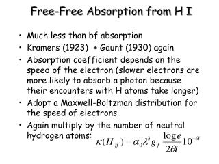 Free-Free Absorption from H I