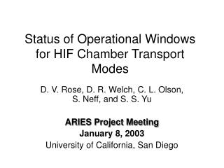 Status of Operational Windows for HIF Chamber Transport Modes