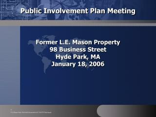 Public Involvement Plan Meeting