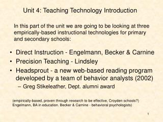 Unit 4: Teaching Technology Introduction