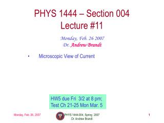 PHYS 1444 – Section 004 Lecture #11