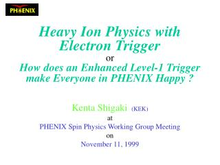 Kenta Shigaki (KEK) at PHENIX Spin Physics Working Group Meeting on November 11, 1999