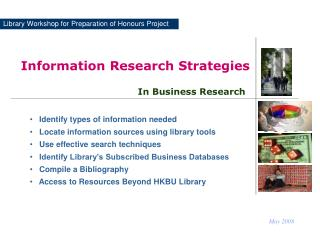 Library Workshop for Preparation of Honours Project