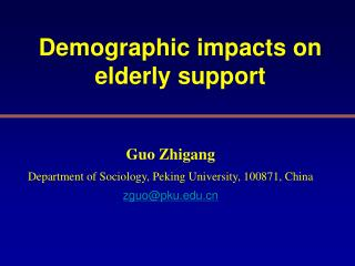 Demographic impacts on elderly support