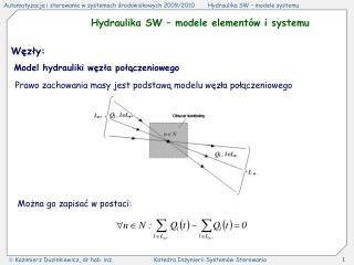 Hydraulika SW � modele element�w i systemu