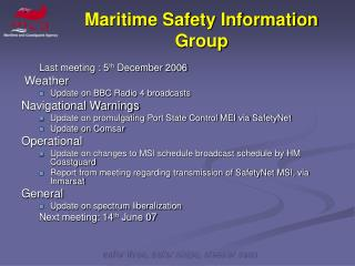 Maritime Safety Information Group