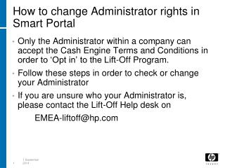 How to change Administrator rights in Smart Portal