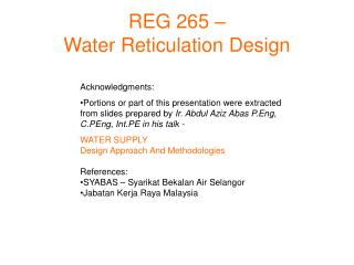 REG 265 – Water Reticulation Design