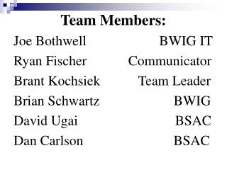 Team Members: Joe Bothwell                     BWIG IT Ryan Fischer            Communicator