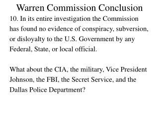 Warren Commission Conclusion