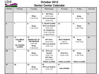October 2013 Senior Center Calendar