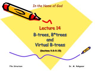 Lecture 14 B-trees, B*trees  and  Virtual B-trees (Sections 9.8-9.15)