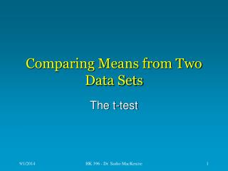 Comparing Means from Two Data Sets