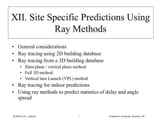 XII. Site Specific Predictions Using Ray Methods
