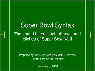 Super Bowl Syntax