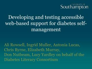 Developing and testing accessible web-based support for diabetes self-management