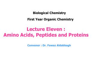 Lecture Eleven :  Amino Acids, Peptides and Proteins