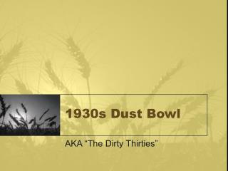 1930s Dust Bowl