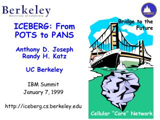 ICEBERG: From POTS to PANS  Anthony D. Joseph Randy H. Katz UC Berkeley