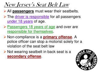 New Jersey's Seat Belt Law