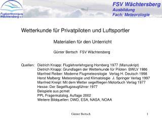 FSV W�chtersberg Ausbildung Fach: Meteorologie