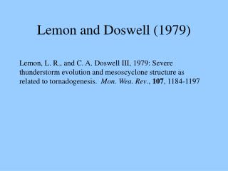 Lemon and Doswell (1979)