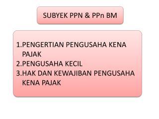 SUBYEK PPN &  PPn  BM