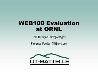 WEB100 Evaluation at ORNL