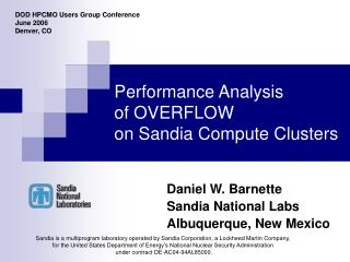 Performance Analysis of OVERFLOW  on Sandia Compute Clusters