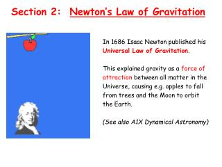 Section 2:   Newton�s Law of Gravitation