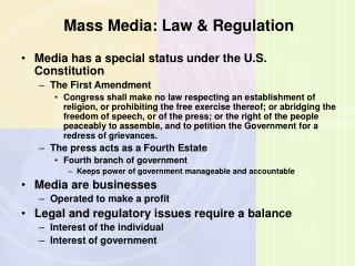 Mass Media: Law & Regulation