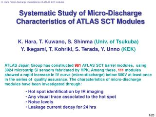 Systematic Study of Micro-Discharge Characteristics of ATLAS SCT Modules
