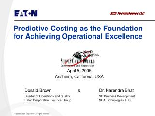 Predictive Costing as the Foundation for Achieving Operational Excellence