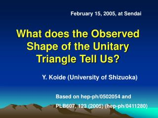 What does the Observed Shape of the Unitary Triangle Tell Us?