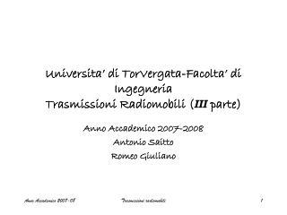 Universita' di TorVergata-Facolta' di Ingegneria Trasmissioni Radiomobili ( III  parte)