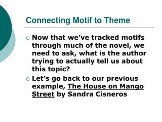 Connecting Motif to Theme