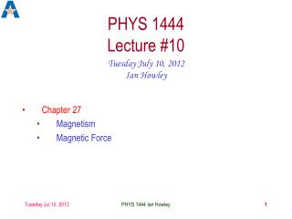 PHYS 1444 Lecture #10