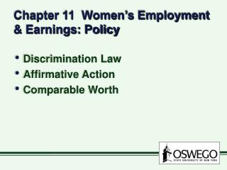 Chapter 11  Women s Employment  Earnings: Policy