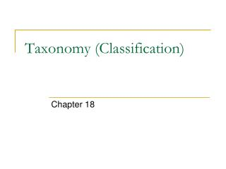Taxonomy (Classification)