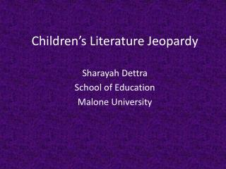Children's Literature Jeopardy