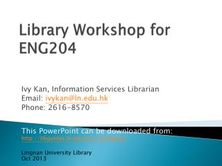 Library Workshop for ENG204