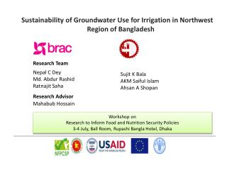 Sustainability of Groundwater Use for Irrigation in Northwest Region of Bangladesh