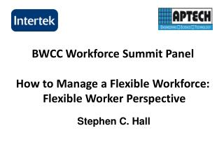 BWCC Workforce Summit Panel How to Manage a Flexible Workforce:  Flexible Worker Perspective