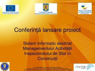 Conferin ță lansare  proiect