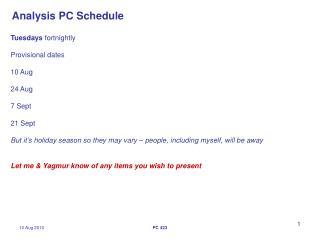 Analysis PC Schedule