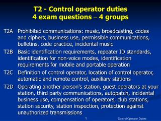 T2 - Control operator duties 4 exam questions  –  4 groups