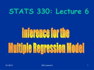 STATS 330: Lecture 6